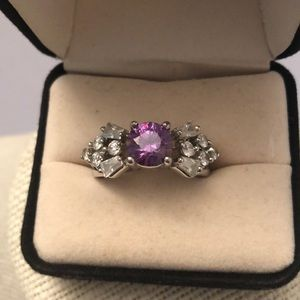 Jewelry - 10KT gold plated amethyst & zirconia ring
